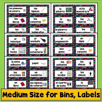 Spanish Class Labels, Word Wall, Hispanic Decor, Classroom Decorations, Calendar