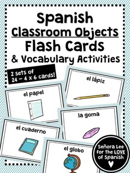 Spanish Class Object Flash Cards - Los Útiles Escolares