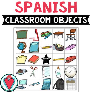 Spanish Bingo: Class Objects - Los Materiales Escolares
