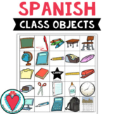 Spanish Classroom Objects Vocabulary Bingo Game