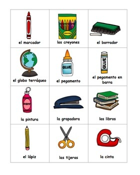 Spanish Class Objects Bundle of 10 - Vocabulary, Practice, Puzzles, Cards, Skit