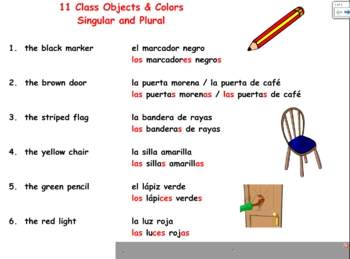Spanish Class Objects & Colors Practice - 11 Singular & Plural