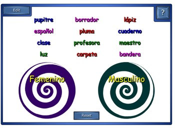 Spanish Class Objects Smart Board 10 Games and Activities