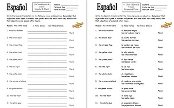 Spanish Class Objects with Colors Singulars and Plurals Worksheet