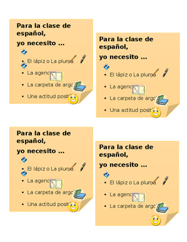 Spanish Class - Personal Checklist for Student Desks