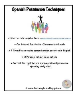 Spanish Class Persuasive Writing and Speaking