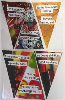 Spanish Class Phrases Pennant Flags