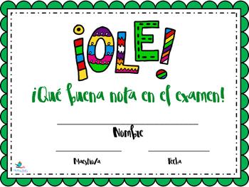 Spanish Class Praise Certificates Español