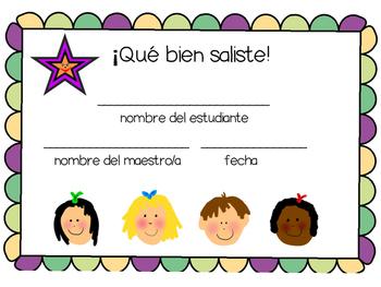 Spanish Class Printable Positive Reinforcement