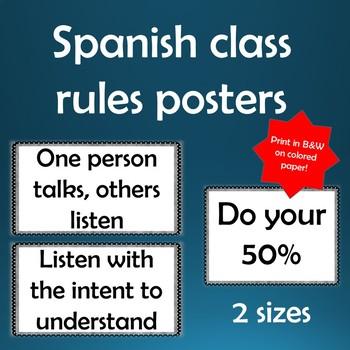 FREE! Spanish Class Rules