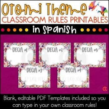 Spanish Class Rules - Otomi Theme