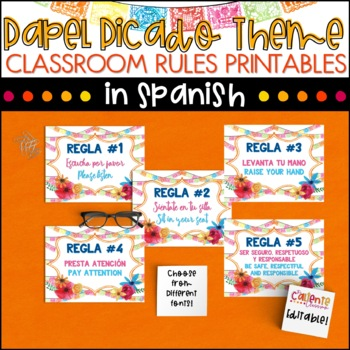 Spanish Class Rules - Papel Picado Theme