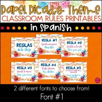 Spanish Class Rules - Papel Picado Theme