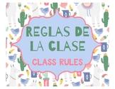 Spanish Class Rules - Llama Cactus Theme