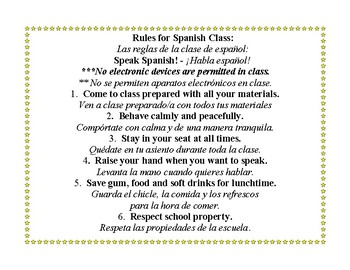 Spanish Class Rules Poster