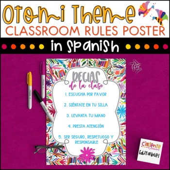 Spanish Class Rules Poster - Otomi Theme