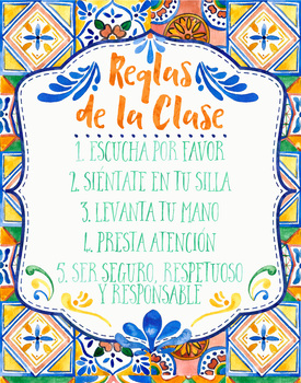 Spanish Class Rules Poster - Talavera Tile Theme