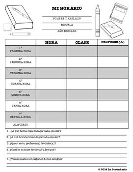 Spanish Class Schedule Chart