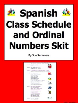Spanish Class Schedule and Ordinal Numbers Skit / Role Play for 2