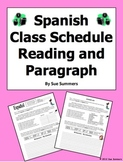 Spanish Class Schedule Paragraph with Order Words, Student Schedule