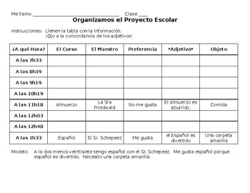 Spanish Class Schedule Project Organizer