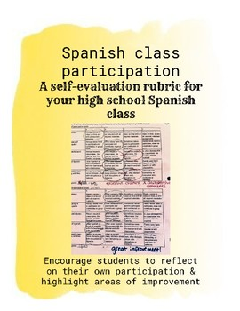 Spanish Class Self-Evaluation Participation Rubric