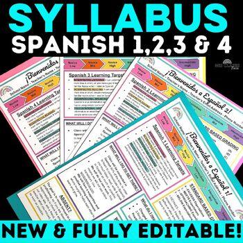 Back to School: Syllabus Bundle for Spanish 1, 2 & 3