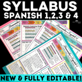 Back to School: Syllabus for Spanish 1, 2, 3 & 4 - editable in Google Drive