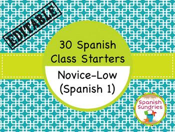 Spanish Class Starters:  30 Novice-Low Warm-Ups