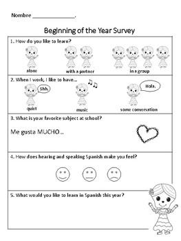 Spanish Class Student Surveys