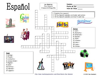 Spanish Class Subjects Crossword Puzzle and Image IDs Worksheet