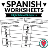 Spanish Class Subjects Worksheets - Names of High School Classes