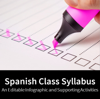 Spanish Class Syllabus - An Editable Infographic and Supporting Activities