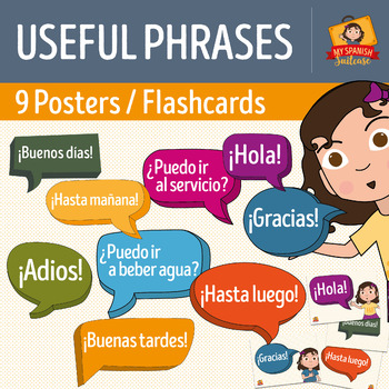 Spanish Class Useful Phrases Posters & Flashcards SAMPLE