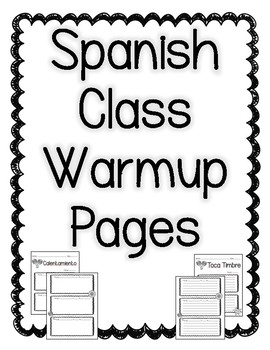 Spanish Class Warmup Worksheet