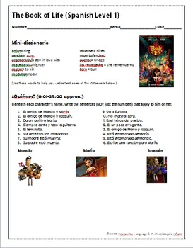 Spanish Class or Substitute Activity: The Book of Life + B