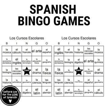 Spanish Classes Bingo! Los Cursos Escolares