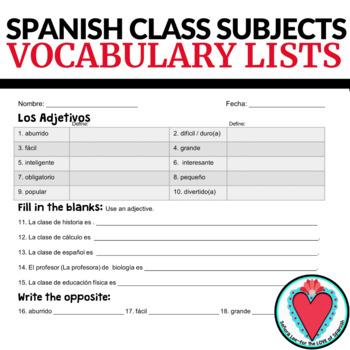Spanish Classes Los Cursos Escolares VOCAB LISTS