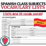 Spanish Class Subjects - Spanish Vocabulary Lists