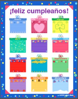 Spanish Classroom Birthday Poster