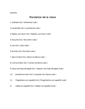 Spanish Classroom Commands