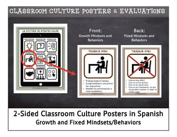 Spanish Classroom Culture Posters and Evaluations-Foster a Growth Mindset