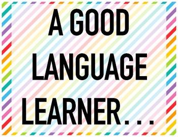 Spanish Classroom Decor, A Good Language Learner... BLACK