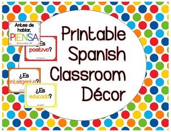 Spanish Classroom Decor, Piensa antes de Hablar