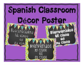 Spanish Classroom Decor Poster - Bienvenidos - Welcome Decoration