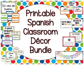 Spanish Classroom Decor Printables Bundle