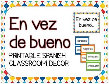 Spanish Classroom Decor, Synonyms of Bueno