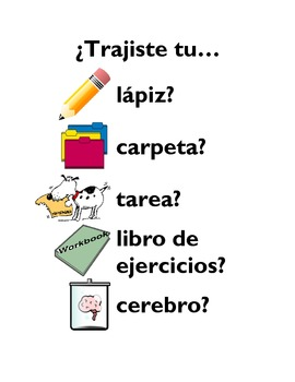 Spanish Class - Poster - Decoration - School Supplies - Classroom Objects