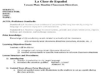 Spanish Classroom Imperativos Lesson Plan