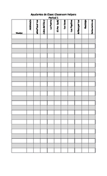 Spanish Classroom Jobs Chart and Schedule